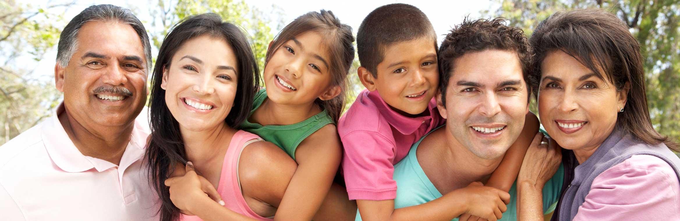 extended Hispanic family outside