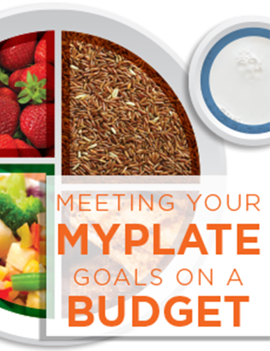 A white plate with evenly divided portions of food around the plate featuring strawberries, grains, and vegetables with a title saying Meeting your my plate goals on a budget