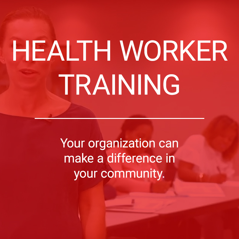 red overlay of the health worker training with a woman standing in front of a table as the background