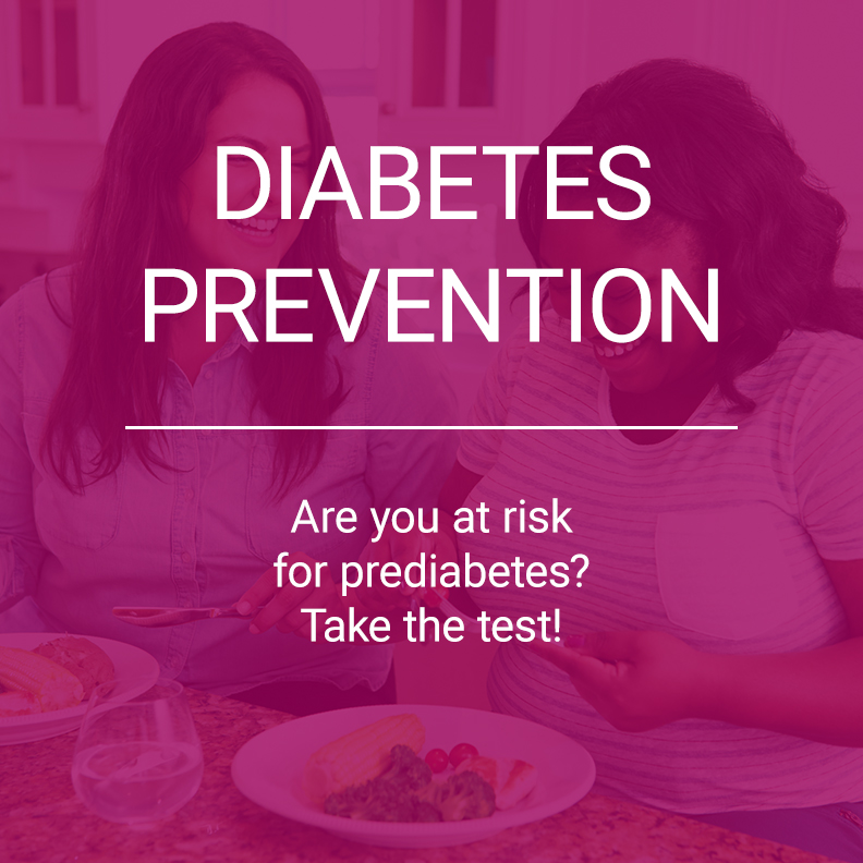 pink diabetes prevention block with two women eating healthy as background.