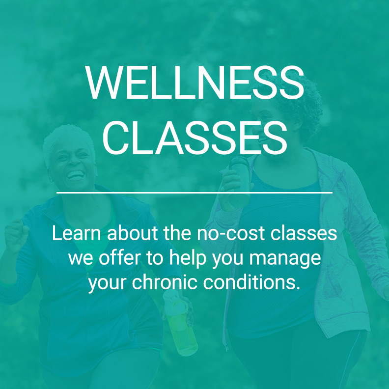Aqua overlay for wellness classes with a background of two women power walking.