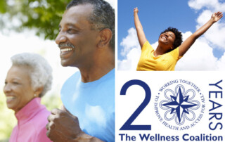 Three together featuring smiling woman arms raised to the sky, older couple jogging, and the Wellness Coalition 20 Years logo.