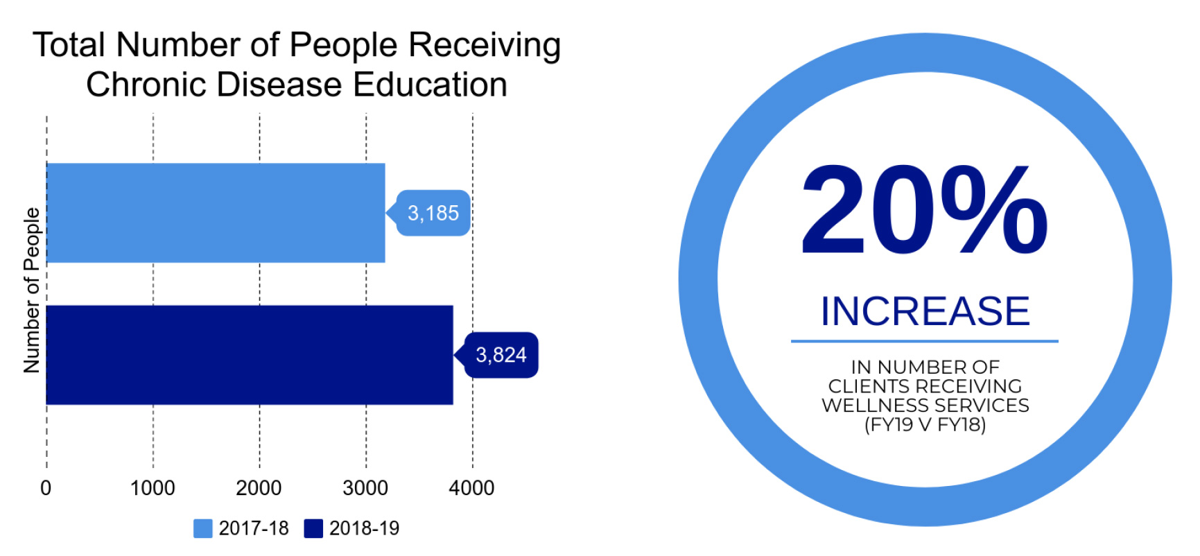 chart showing the number of people receiving chronic disease education annually and the fact it is increasing per year by 20 percent