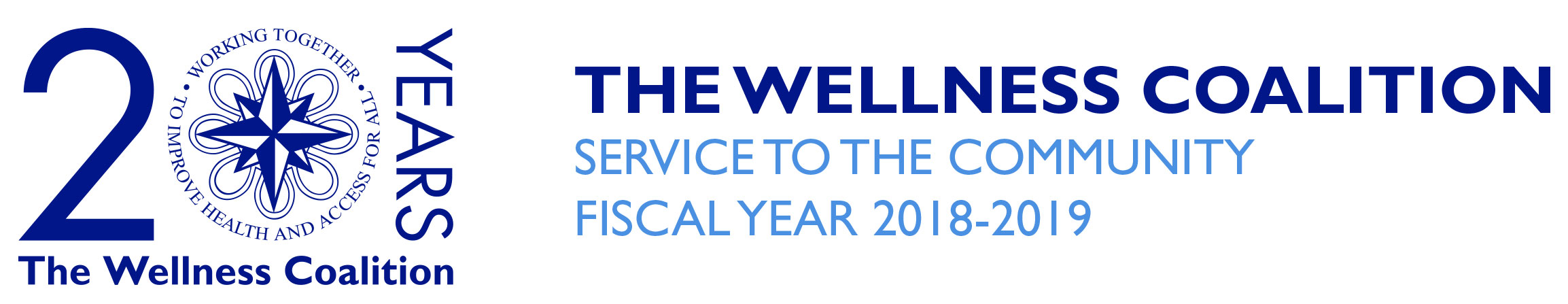 Wellness Coalition logo featuring the words 20 Years , with a services to the community in fiscal year 2018-2019