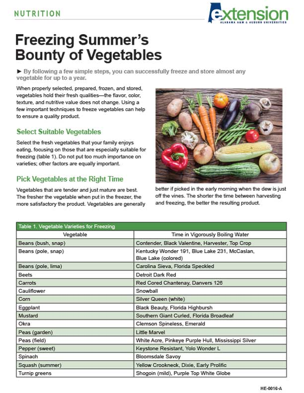 Recipe for Freezing Summer's Bounty of Vegetables